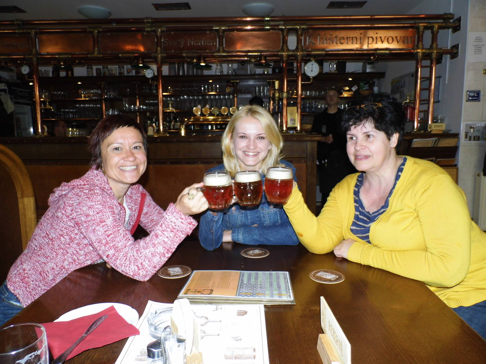 Me & Wendy with her mum at Strahov Monastic Brewery