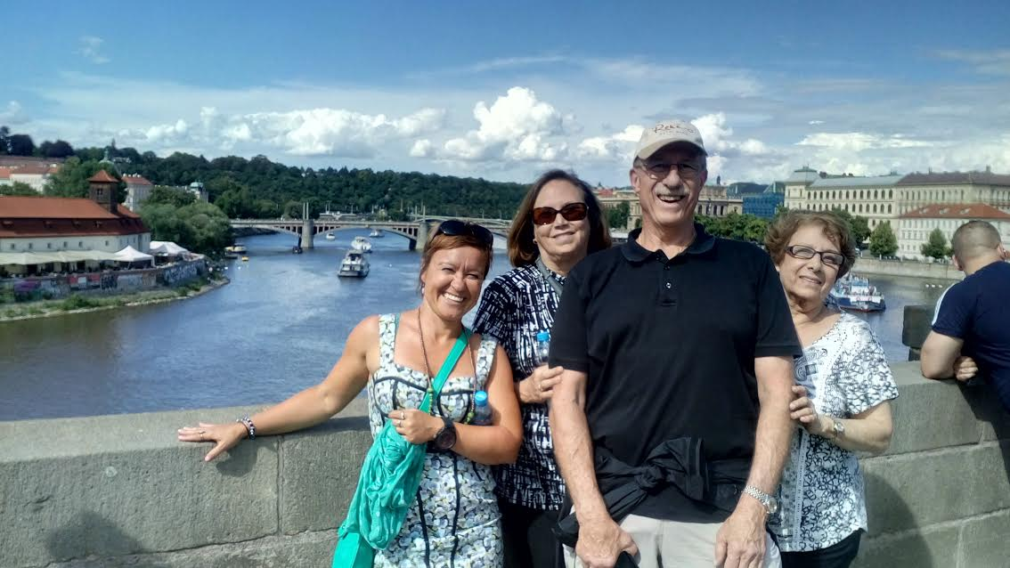 With Henry & his family on the famous Charles Bridge